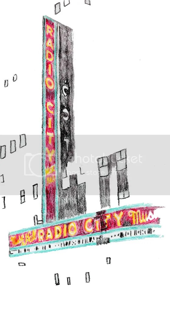 radio city music hall art sketch color pencil beaded beadwork bead embroidery