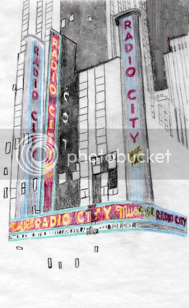 beadwork beaded sketch Radio City Music Hall NYC thelonebeader mixed media painting