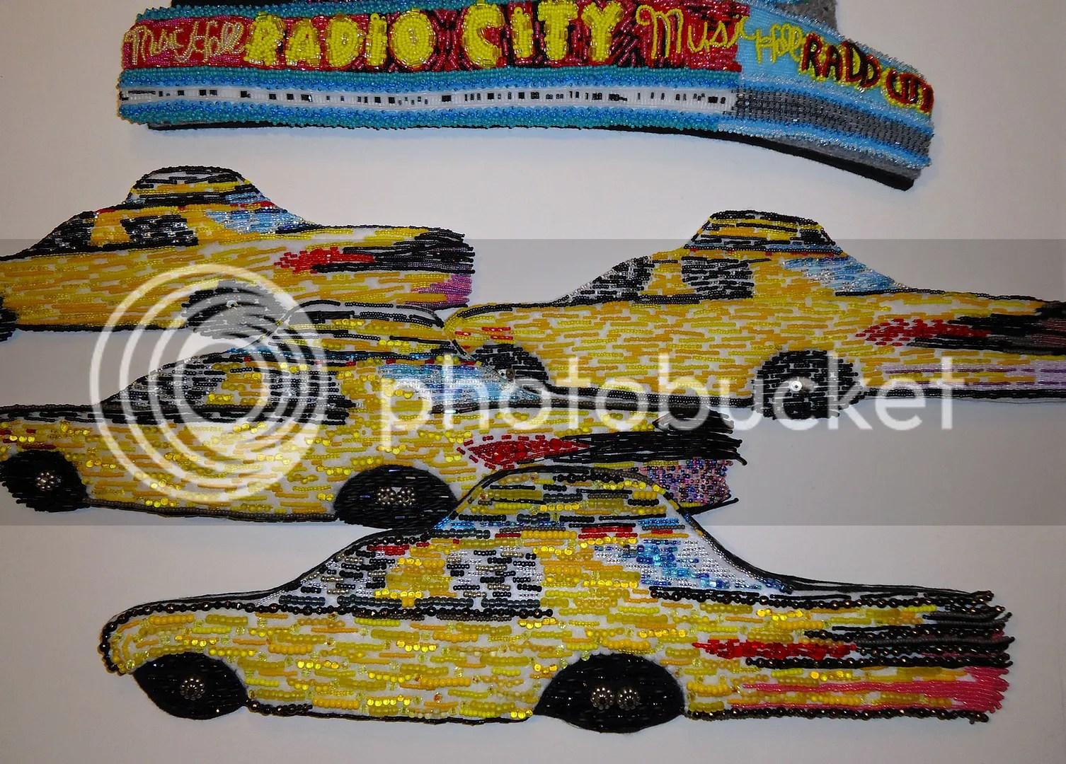 Beaded Yellow NYC taxi cab fiber art New York City mixed media painting
