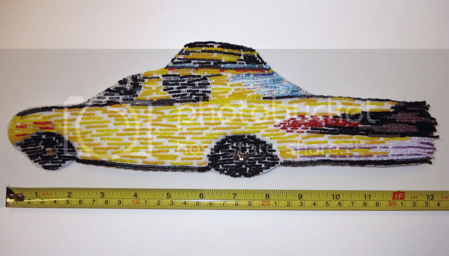 Beaded NYC taxi cab bead embroidery NYC street scene