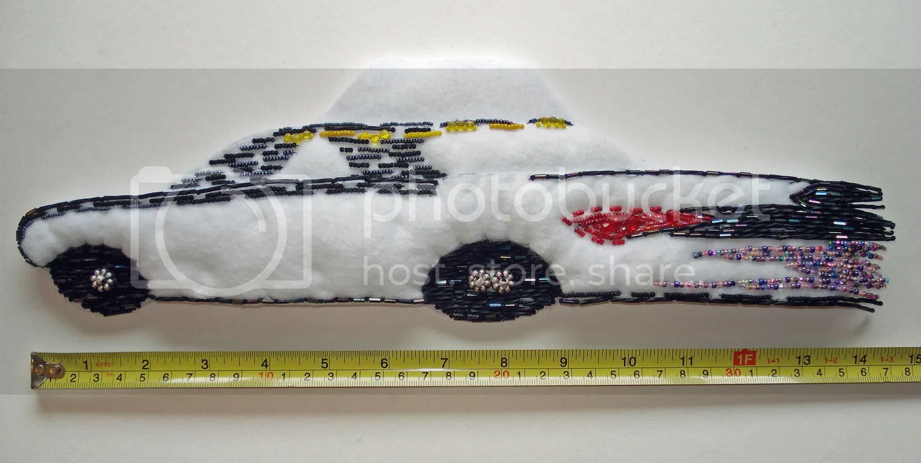 Beaded NYC yellow taxi cab bead embroidery