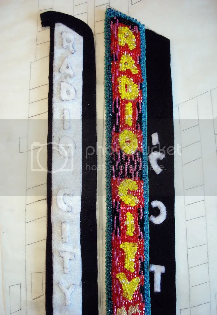 beaded Radio City Music Hall mixed media painting NYC taxi pink beadwork city lights