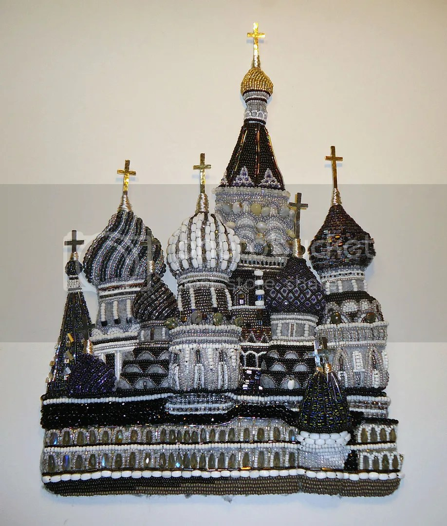 beaded St. Basils Cathedral bead embroidery art beadwork Russian painting etsy