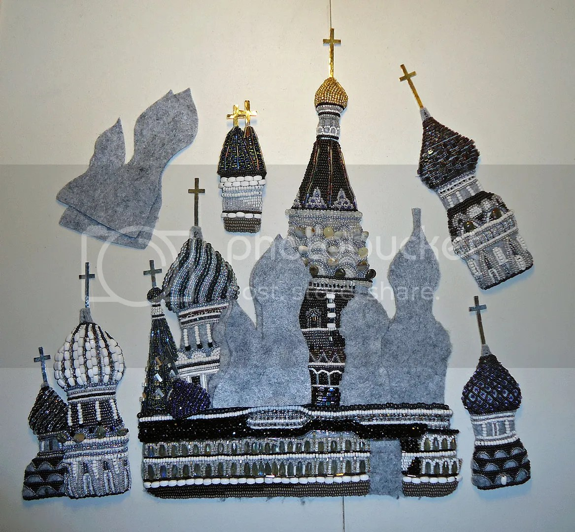 beaded St. Basils Cathedral Moscow Russian art Beadwork bead embroidery artist painting