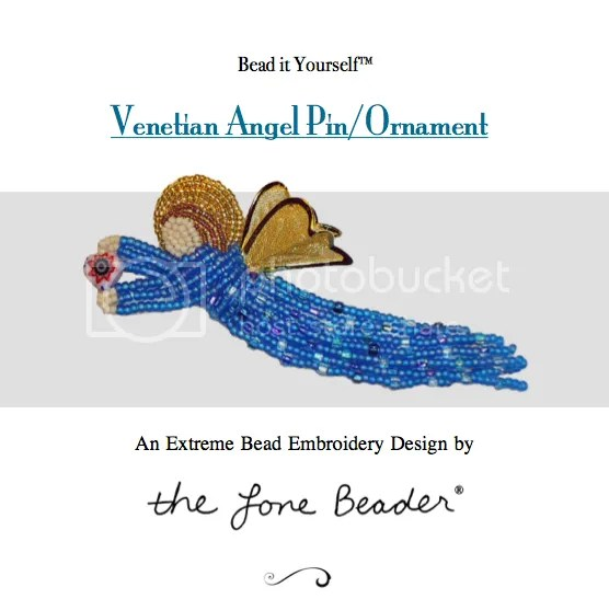 Bead embroidery pattern beaded Venetian Angel pin or ornament for sale on Etsy