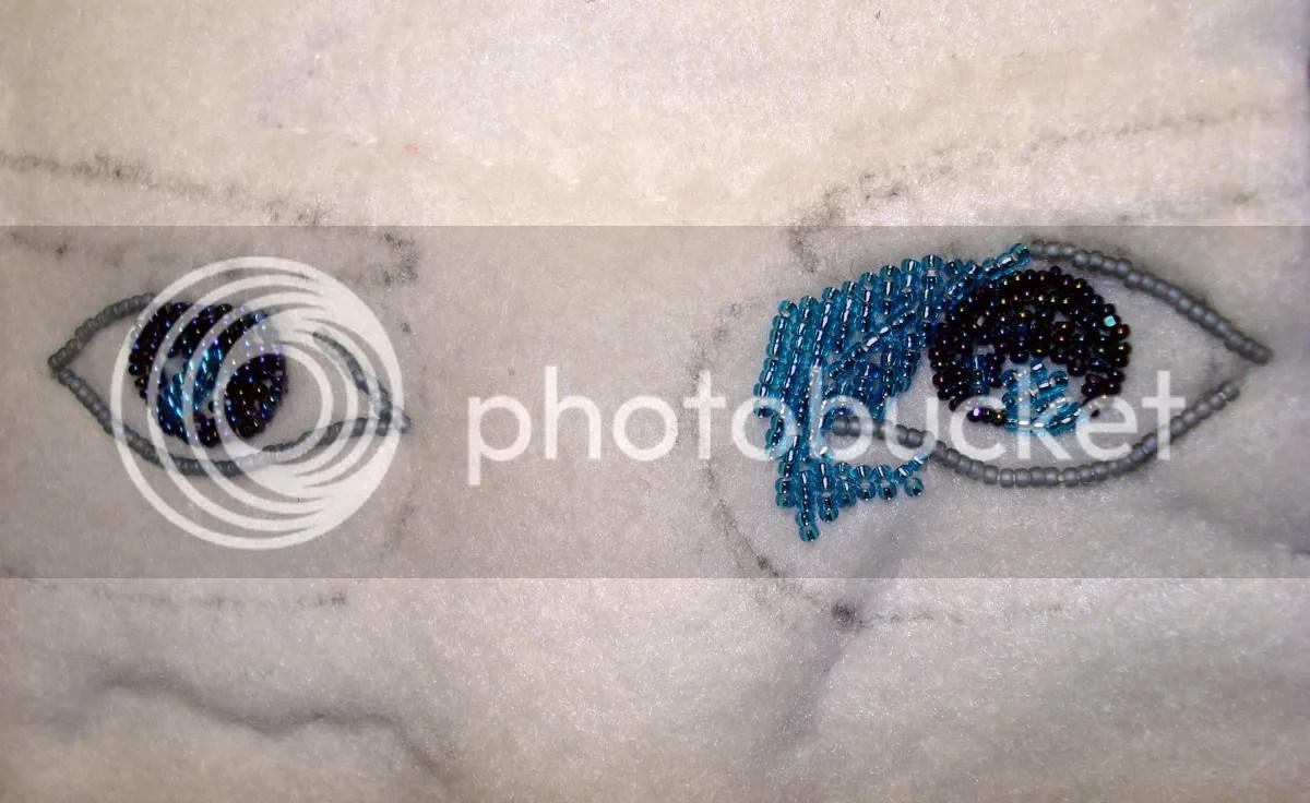 beaded self portrait beadwork thelonebeader recycled eye glass lenses fiber art beads