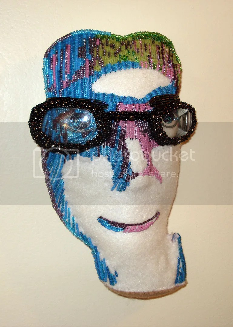 imac insomniac beaded self portrait bead embroidery fiber art beadwork the lone beader blue face eyeglasses frames