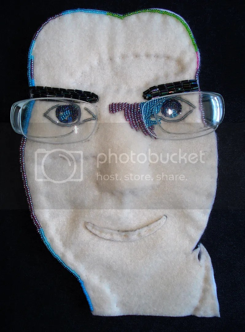 self portrait beadwork bead embroidery art the lone beader russia moscow recycled eyeglasses lens lenses