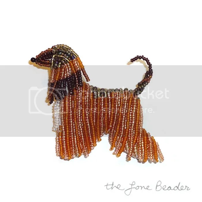 custom beaded Afghan Hound pin pendant apricot beadwork bead embroidery etsy artist