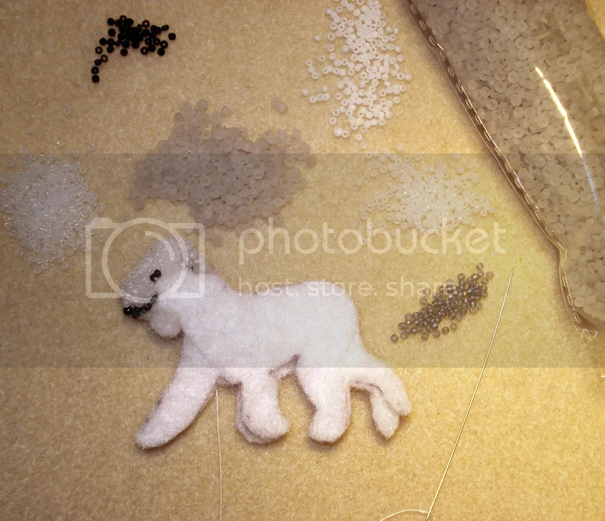 beaded Bedlington Terrier bead embroidery artist Boston etsy pin pendant beading blog