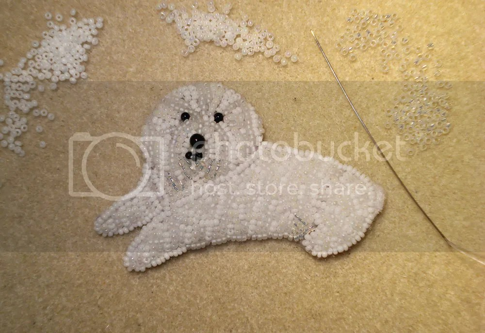 beaded Bichon Frise bead embroidery artist Boston etsy pin pendant beading blog