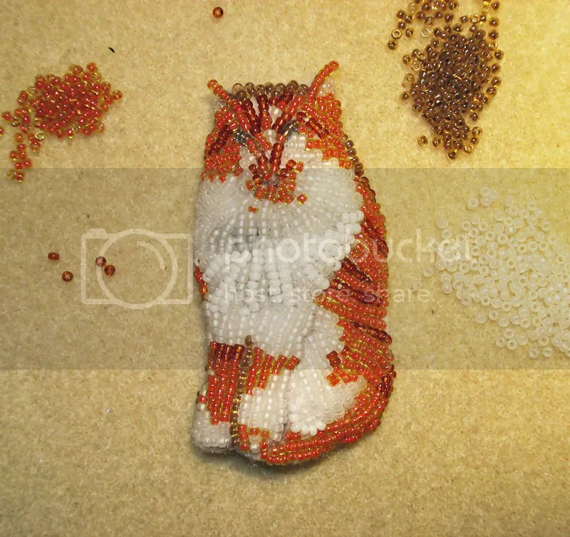 beaded orange and white tabby cat boris morris etsy bead embroidery pin pendant 15/o seed beads