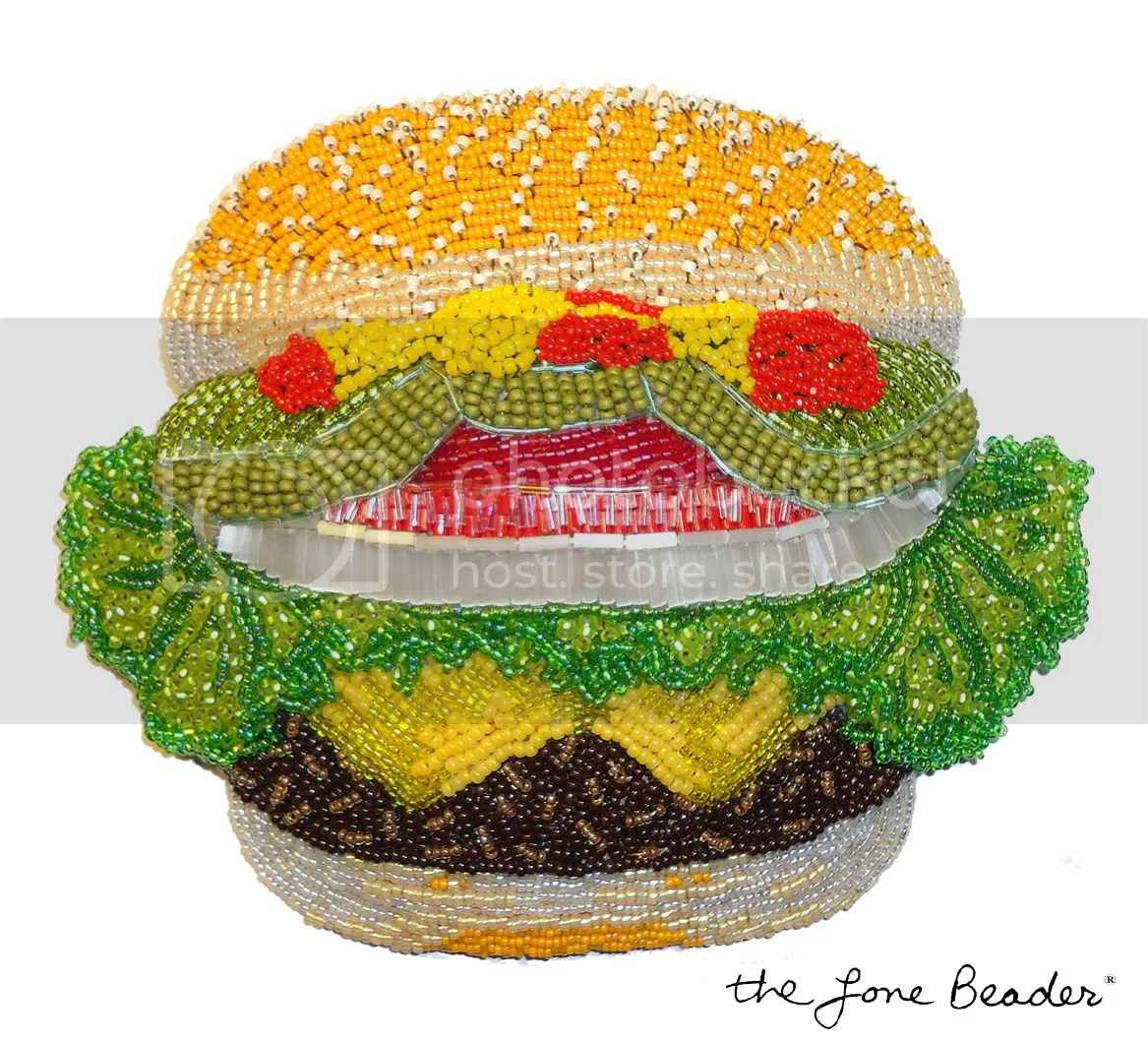 beaded burger king hamburger cheeseburger big mac veggie bead embroidery beadwork