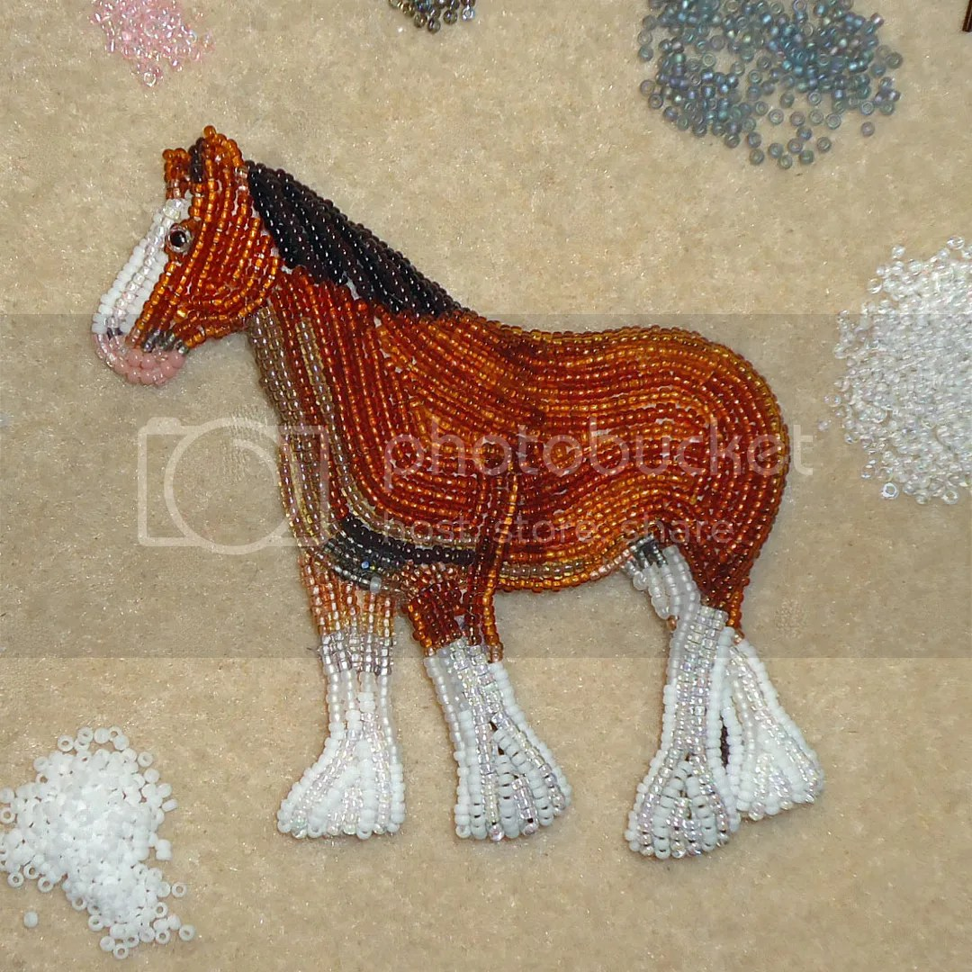 Beaded Clydesdale Horse Beadwork Animal Pin Jewelry Etsy Amazon Bead Embroidery Seed Beads Artist