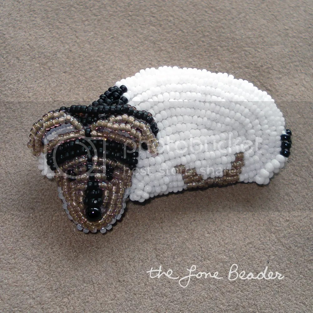 custom beaded Jack Russell Terrier pin pendant beadwork bead embroidery artist etsy the lone beader commission pet portrait