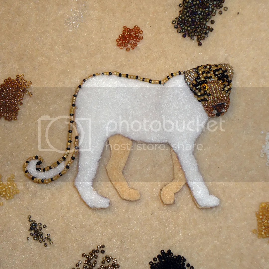 Beaded Leopard Brooch Bead embroidery beadwork Etsy Amazon Handmade Beads Cat Animal Jewelry