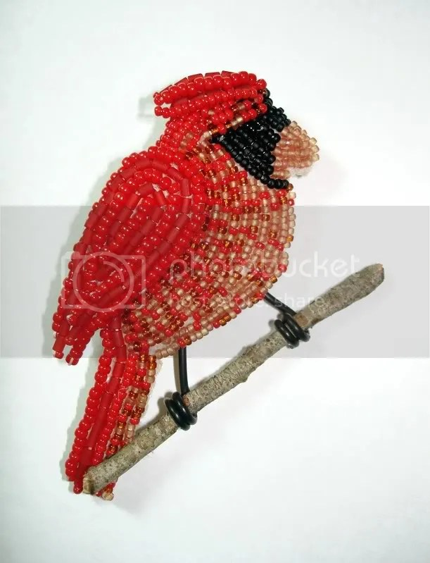 beaded winter cardinal wearable fine art pin etsy Boston bead artist