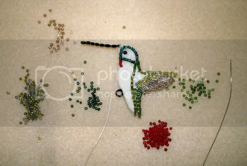 beaded ruby throated hummingbird nature audubon society art beadwork bead embroidery blog