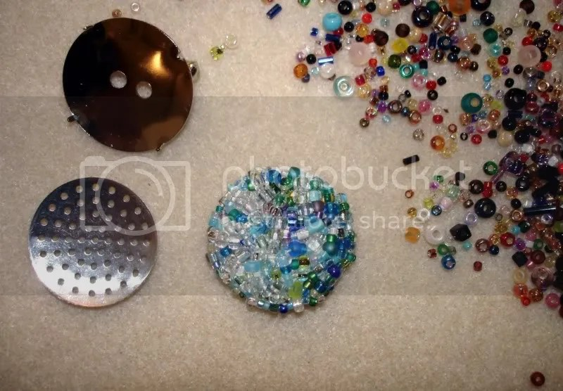 beaded sieve mesh brooch pin button bead embroidery thelonebeader etsy