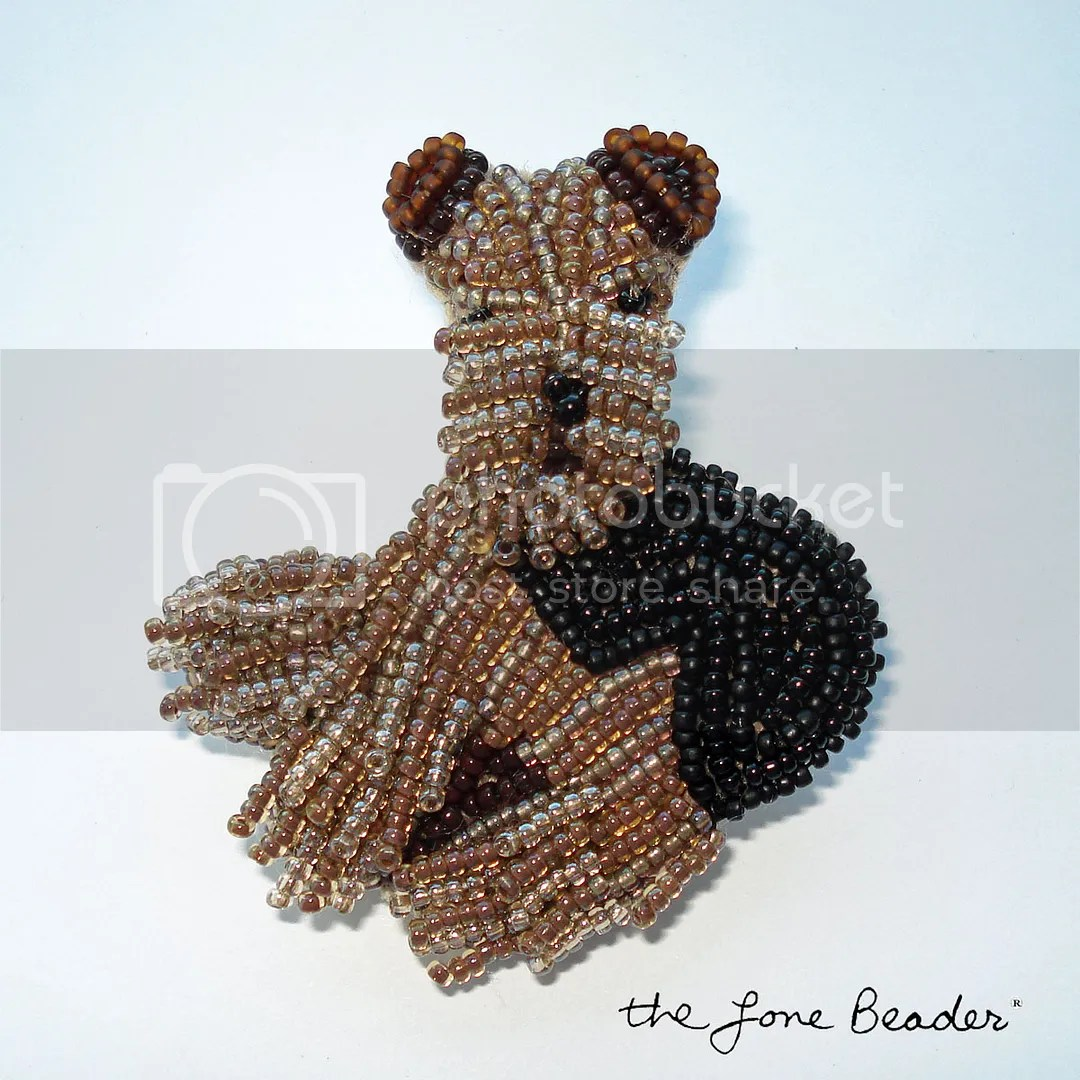 beadwork beaded Airedale Terrier dog pin pendant Etsy