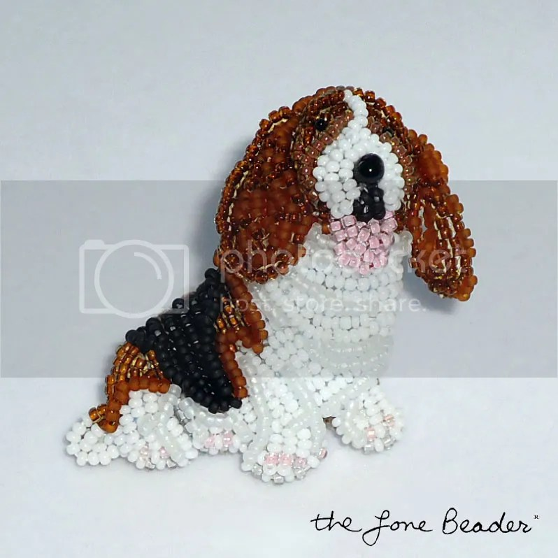 Beaded Basset Hound Pin Bead embroidery peyote stitch etsy pendant for sale