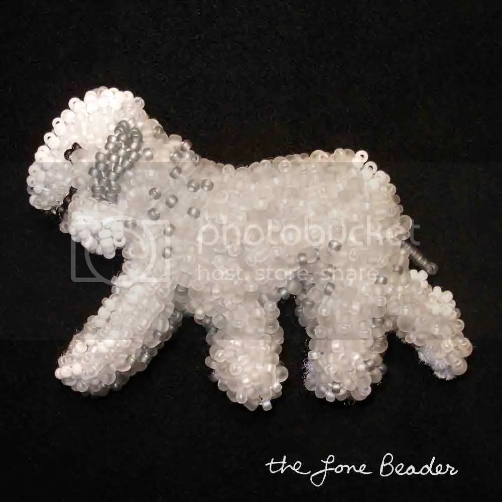 akc beaded Bedlington Terrier bead embroidery artist Boston etsy pin pendant beading blog