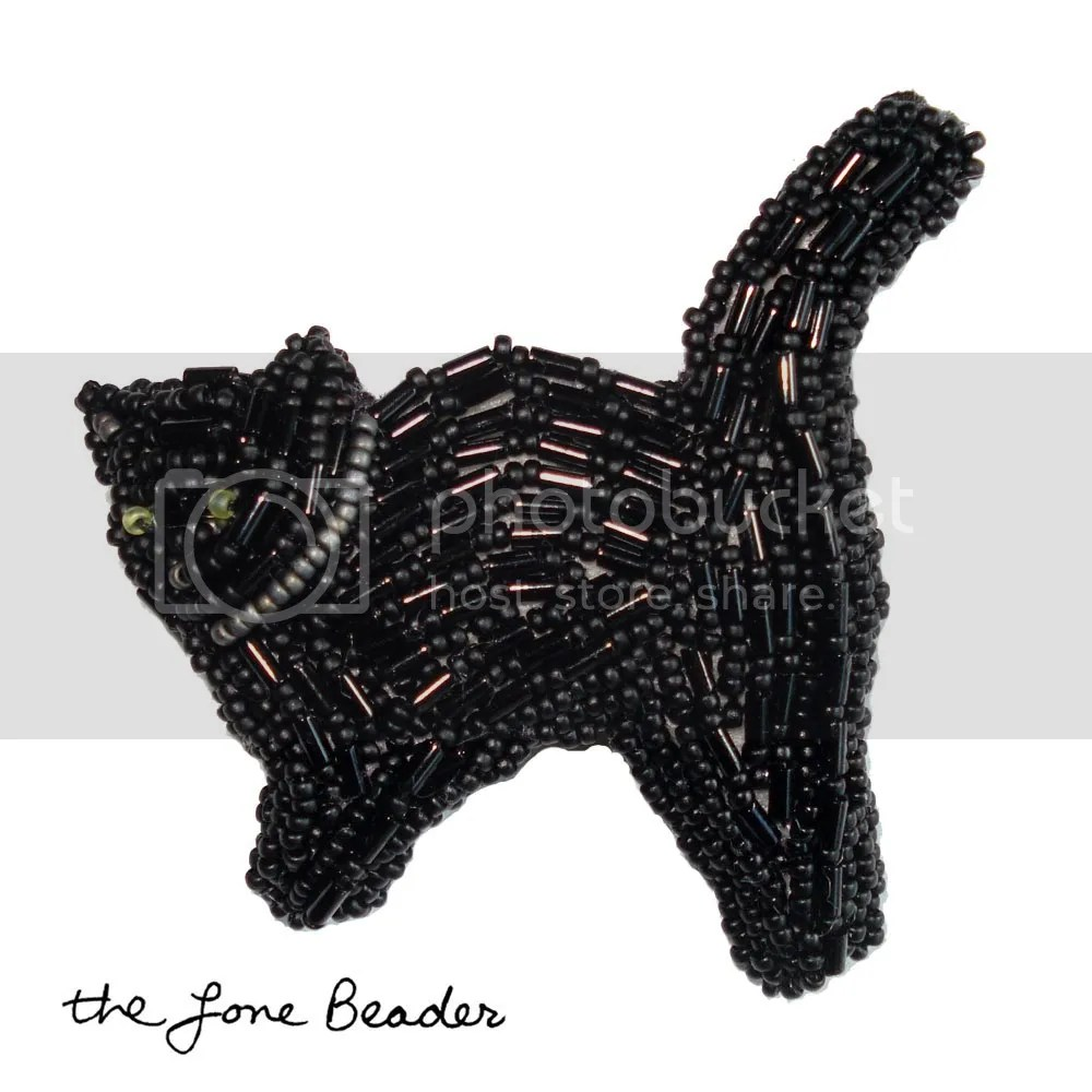 beaded black cat Halloween pin pendant bead embroidery wearable art Etsy thelonebeader