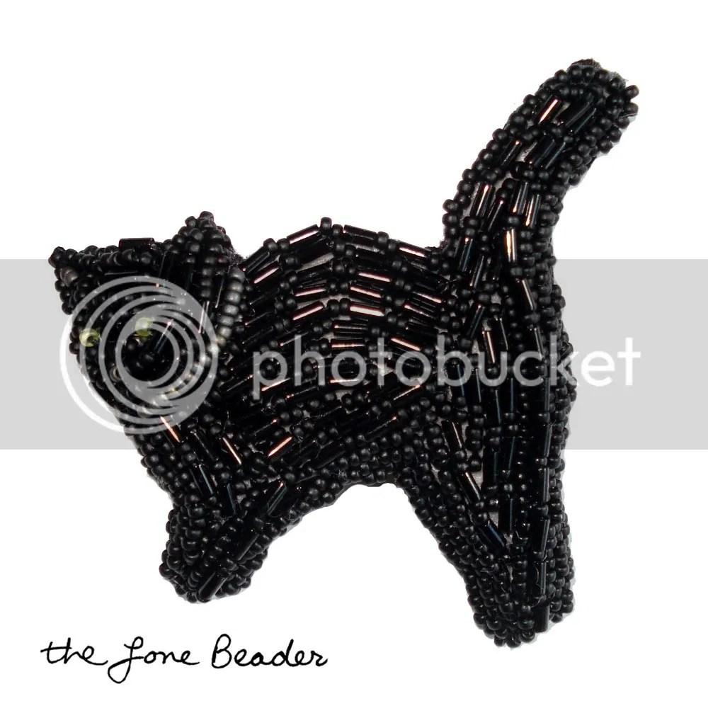 beaded black cat Halloween pin pendant bead embroidery wearable art Etsy thelonebeader