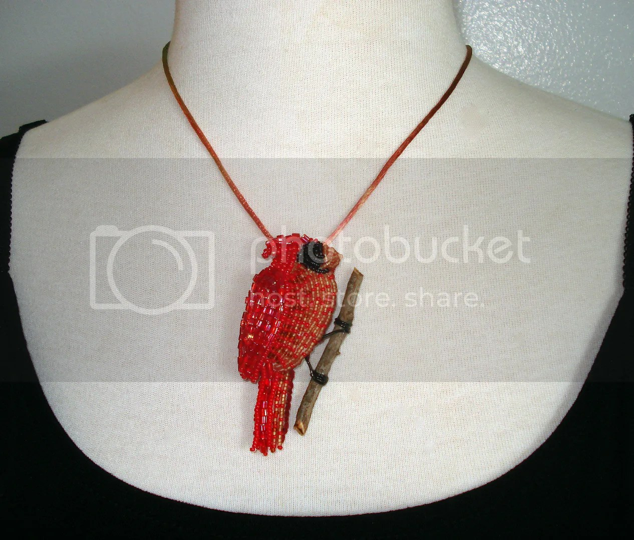 beaded bead embroidery red bird cardinal pin pendant mannequin display etsy