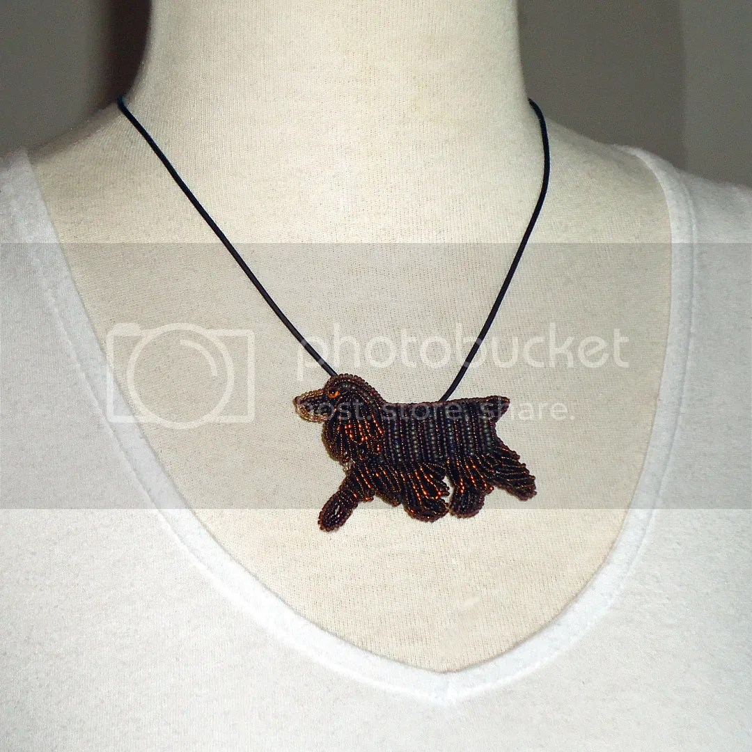 Beaded Chocolate Cocker Spaniel pin pendant necklace Bead embroidery art Etsy Amazon Handmade custom dog jewelry