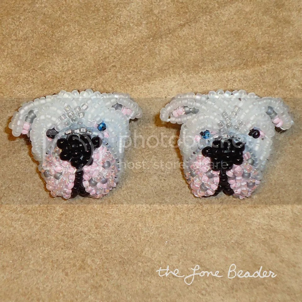 bead embroidered American bulldog beaded sterling silver post earrings