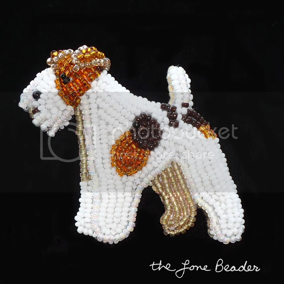 beaded wire fox terrier pin pendant etsy bead embroidery beadwork beads