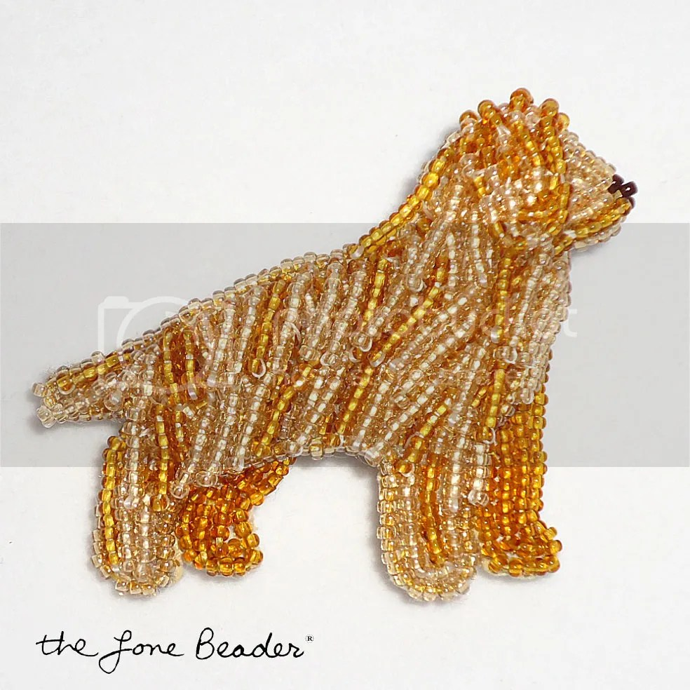 Beaded bead embroidery golden retriever pin etsy beadwork 15 seed beads Japanese