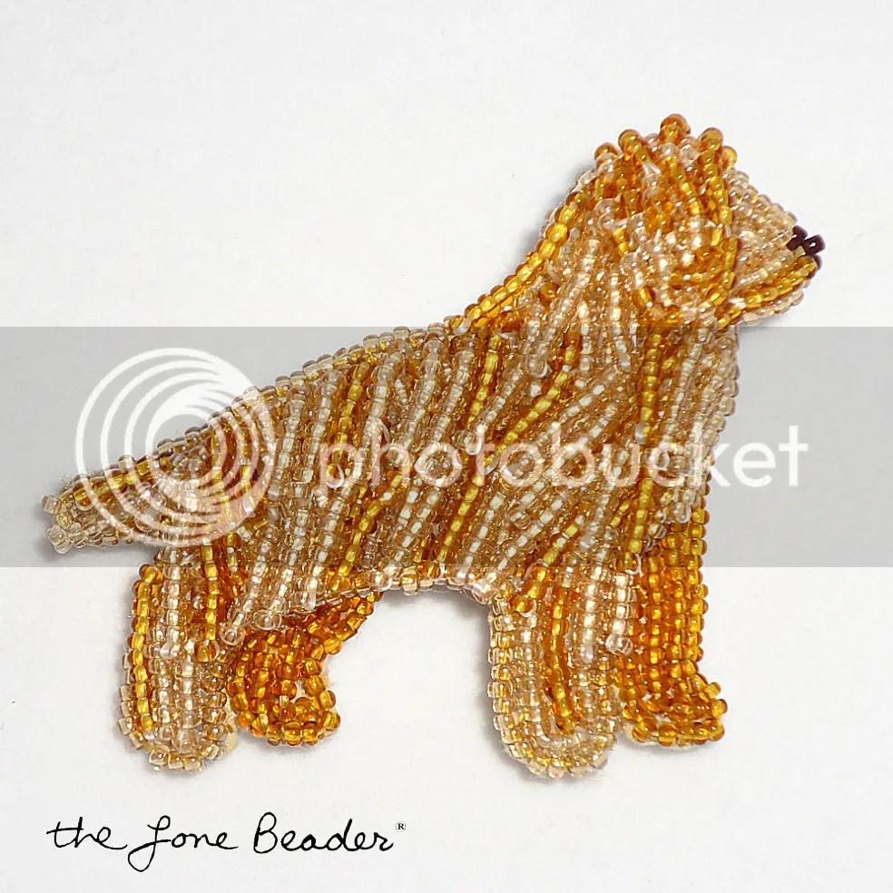 Beaded bead embroidery golden retriever pin etsy beadwork 15 seed beads Japanese