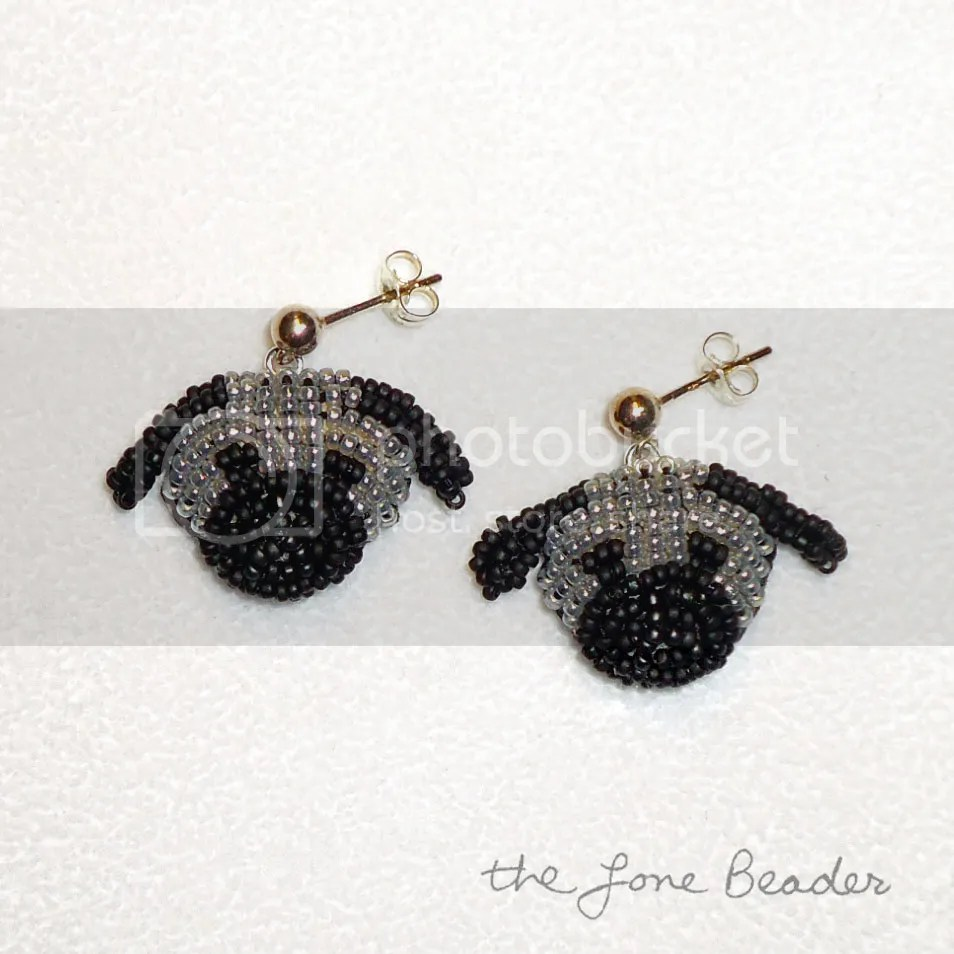 custom beaded Pug earrings beadwork bead embroidery dog jewelry etsy akc