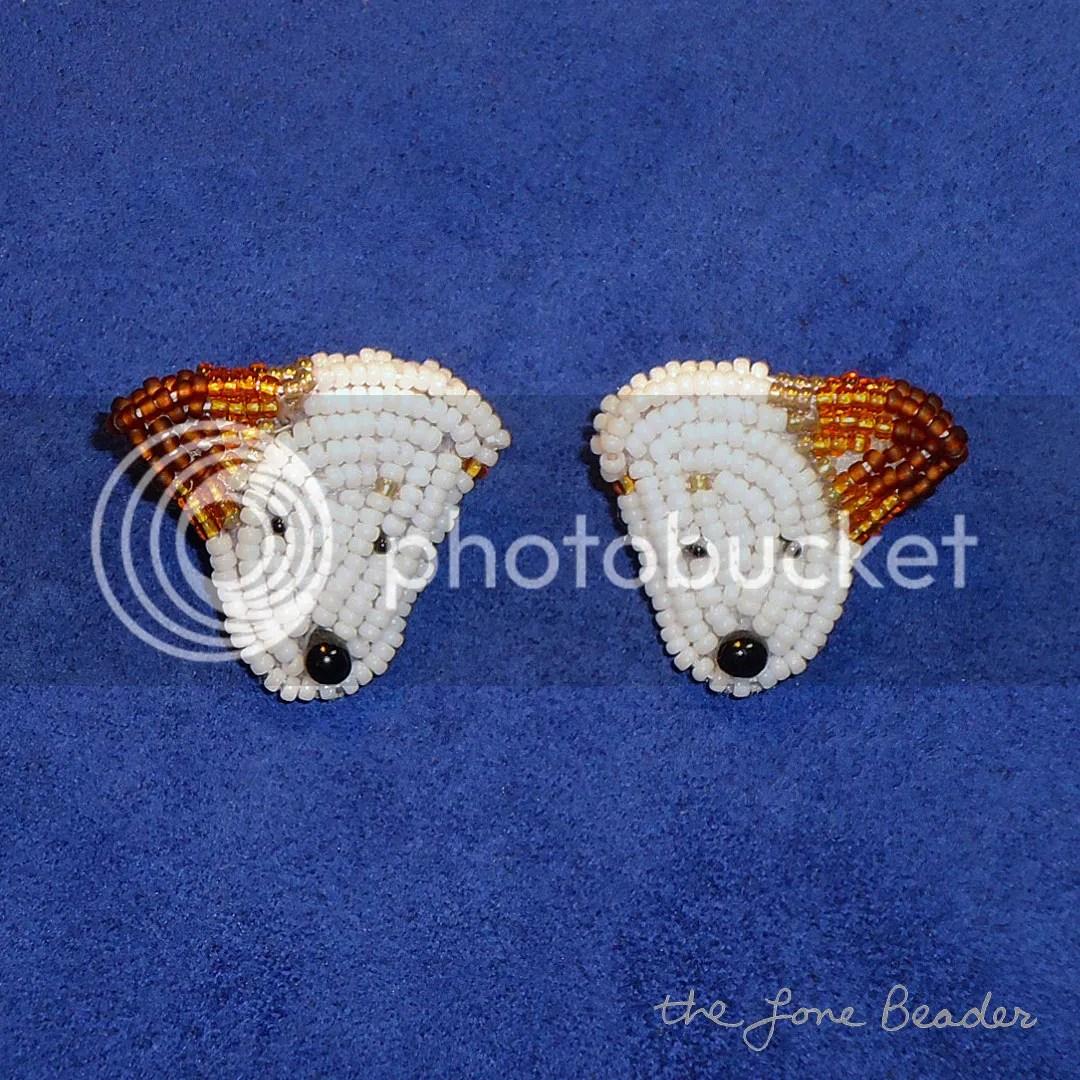 Beaded Jack Russell Terrier sterling silver earrings etsy beadwork beading beads