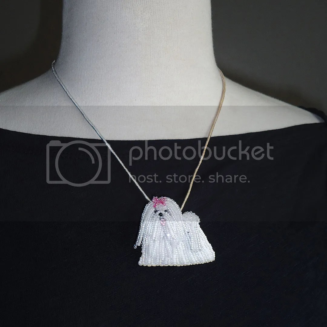 beaded Maltese pin pendant necklace akc custom dog jewelry etsy bead embroidery