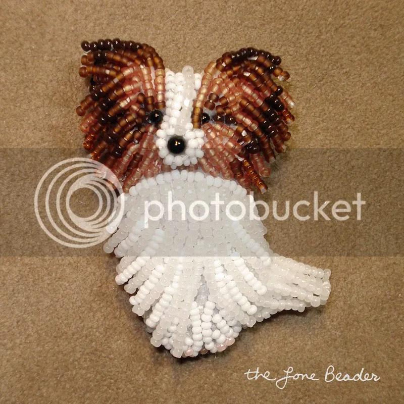 beaded papillon happy pappy dog pin beadwork pin pendant etsy aka bead embroidery