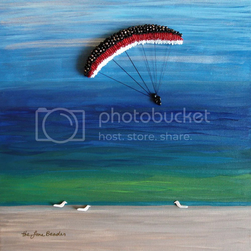 bead embroidery blog acrylics sky beach painting parasail birds