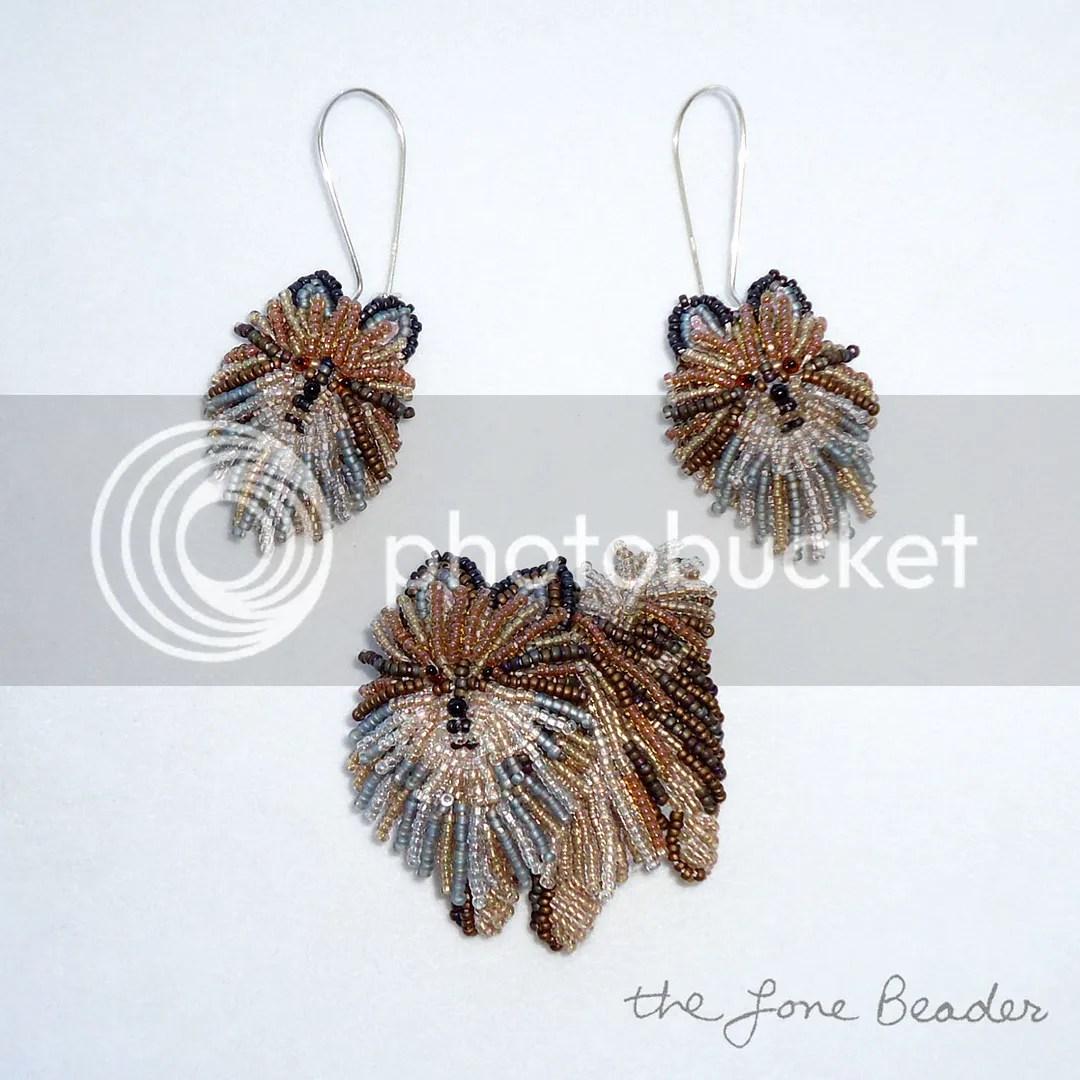 beaded Pomeranian dog brooch earrings necklace set etsy custom jewelry dogs Poms brindle