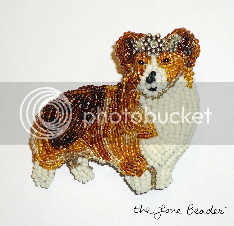 bead embroidery queen elizabeths diamond jubilee etsy beadwork custom welsh corgi dog jewelry