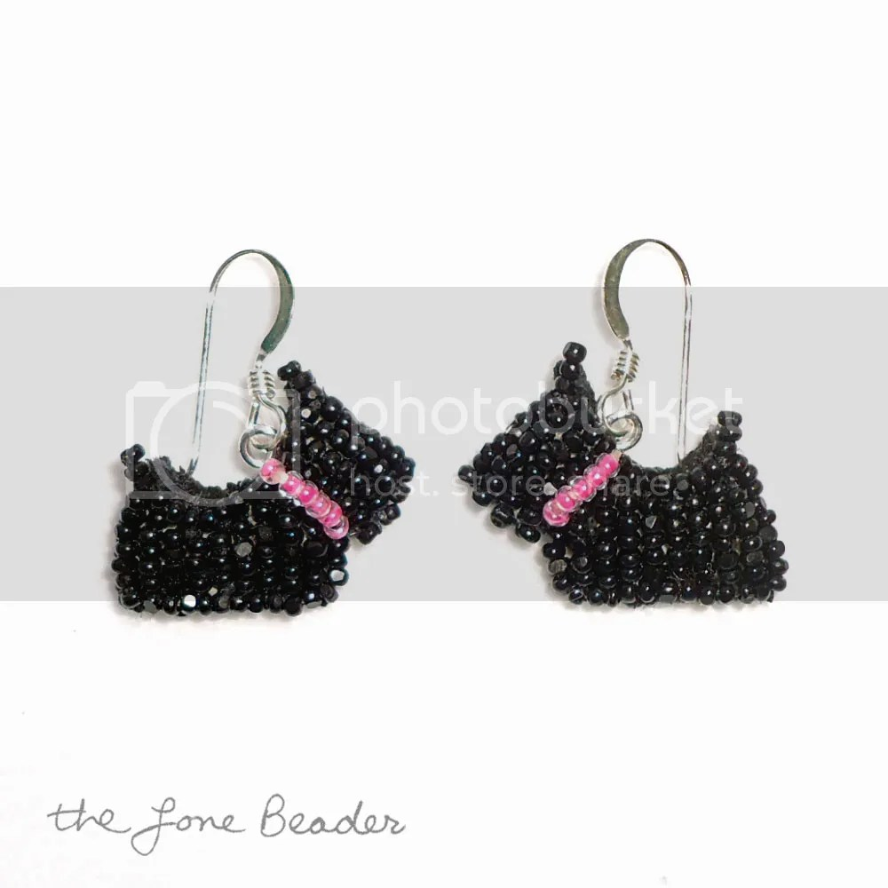 tiny beaded scottie dog earrings beadwork bead embroidery etsy pink