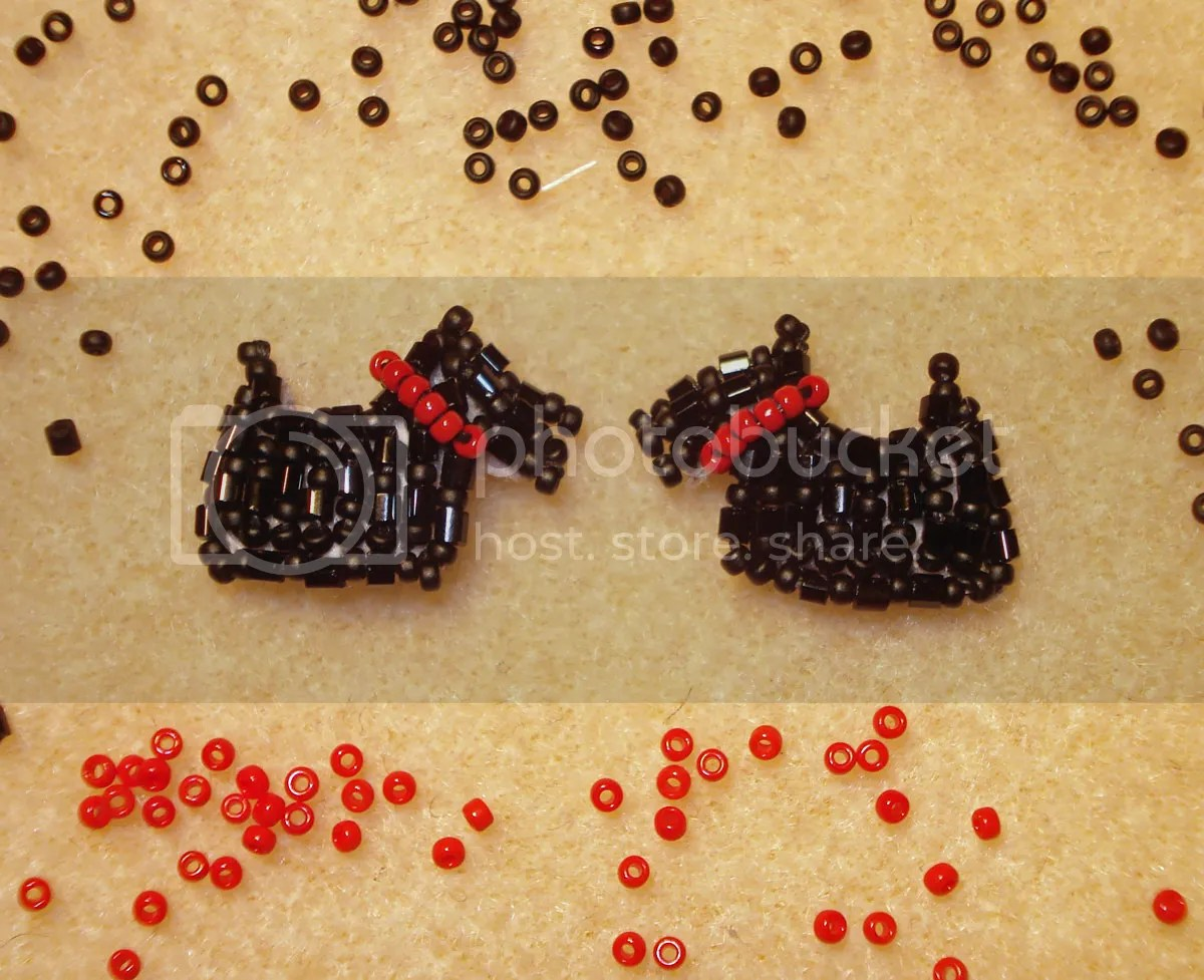 beaded scottie dog earrings scottish terrier akc sterling silver etsy holiday bead embroidery wearable art