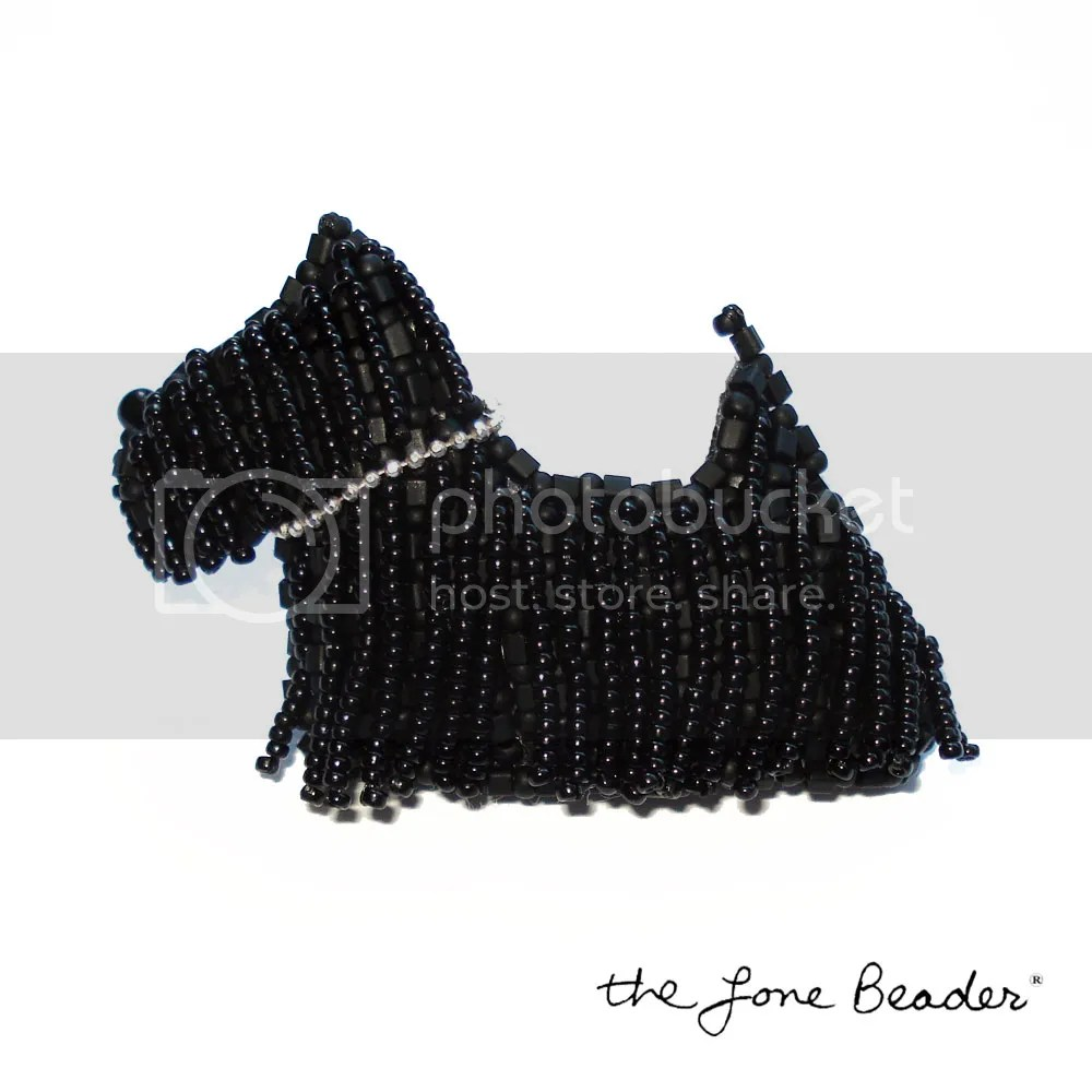 beaded scottish terrier pin pendant etsy bead embroidery