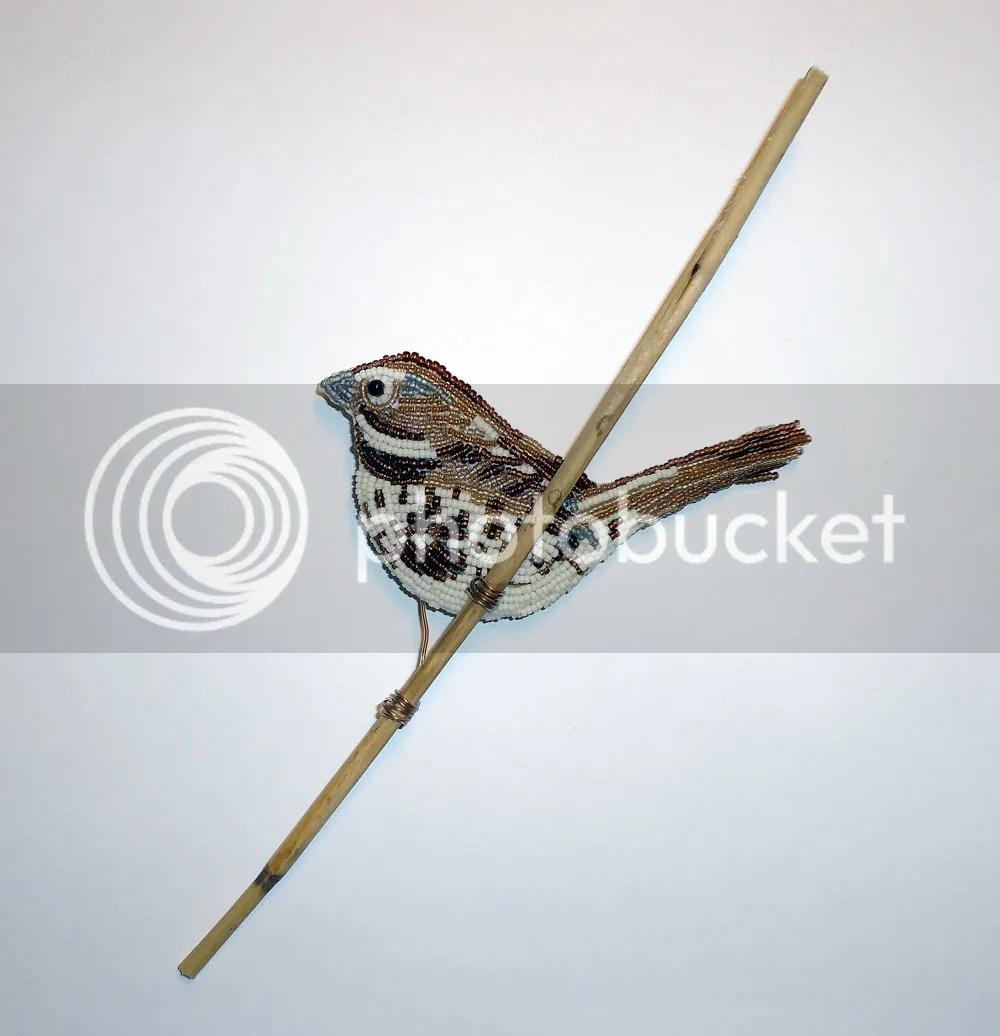 beaded song sparrow beach bird beadwork bead embroidery nature Audubon society