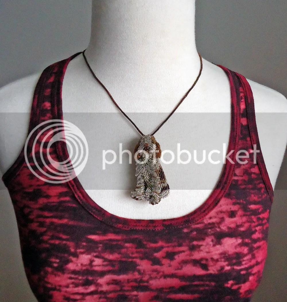 beaded italian spinone rare dog jewelry necklace pendant bead embroidery etsy beads