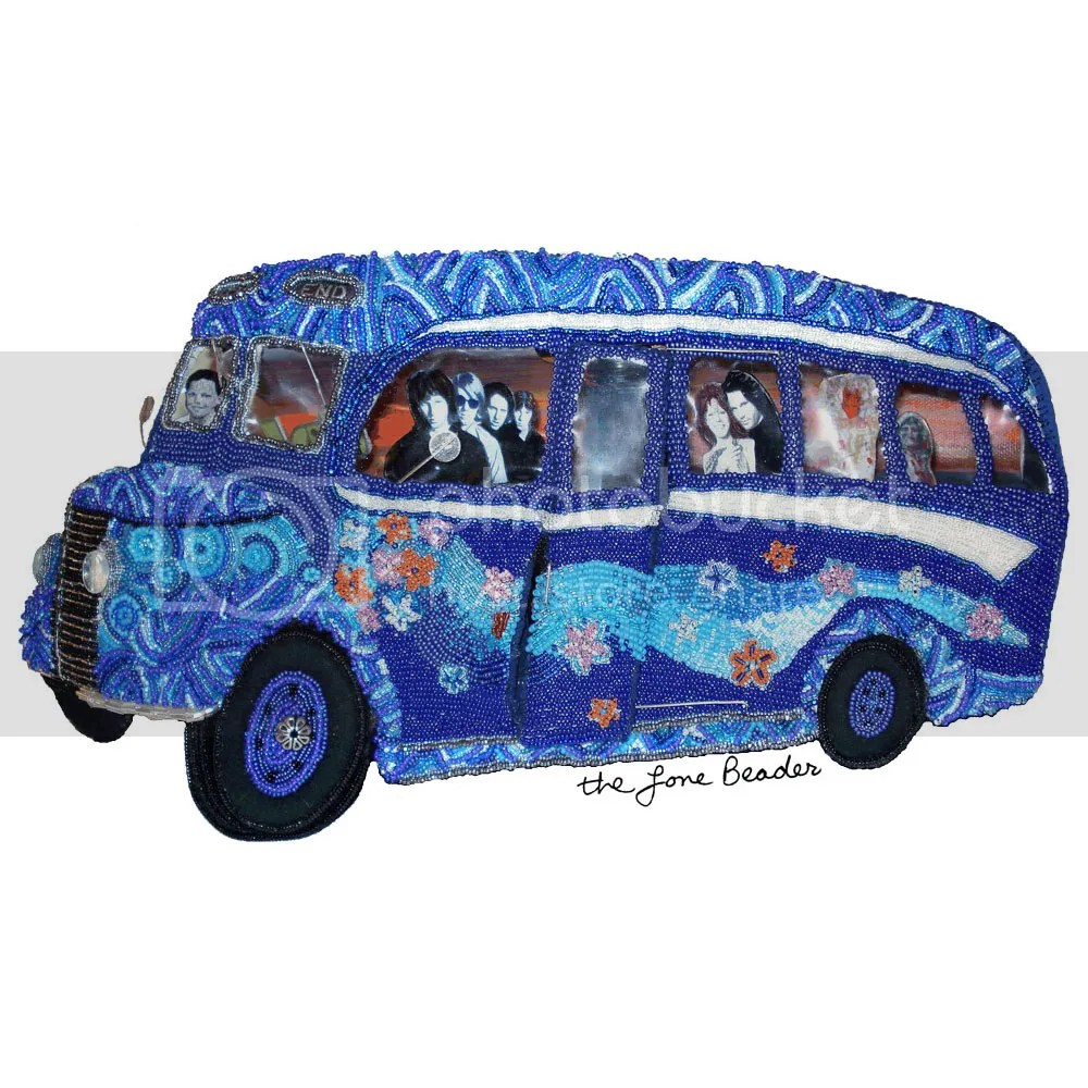 beaded beadwork psychedelic blue British bus replica The Doors Jim Morrison bead embroidery for sale etsy thelonebeader fiber art sculpture