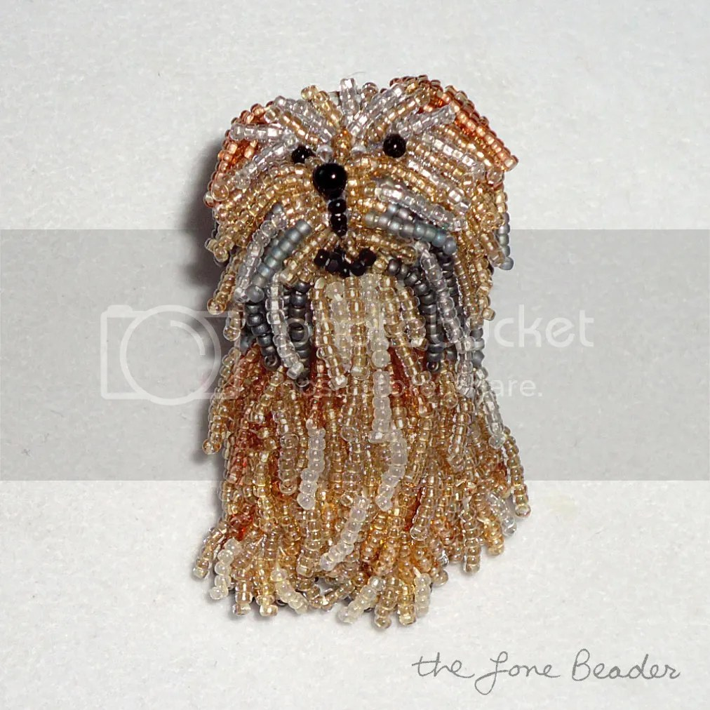 custom beaded Tibetan Terrier brooch pendant jewelry etsy beadwork bead embroidery beads