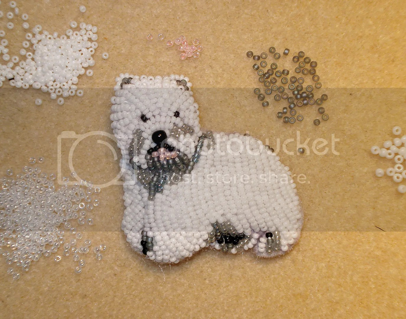 beaded Westie dog pin bead embroidery beadwork Etsy pendant polar bear