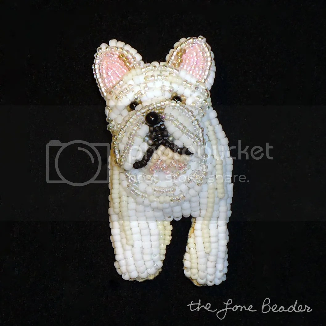 custom beaded French Bulldog pin pendant etsy bead embroidery dog art